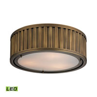 Linden LED 16 inch Aged Brass Flush Mount Ceiling Light