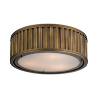 Linden 3 Light 16 inch Aged Brass Flush Mount Ceiling Light in Standard