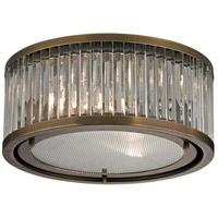 Linden 2 Light 12 inch Aged Brass Flush Mount Ceiling Light