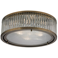 Linden 3 Light 16 inch Aged Brass Flush Mount Ceiling Light