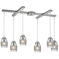 Carved Glass 6 Light 17 inch Brushed Nickel Pendant Ceiling Light in Light Bar