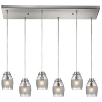Carved Glass 6 Light 9 inch Brushed Nickel Pendant Ceiling Light in Rectangular Canopy