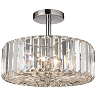 ELK Lighting Clearview 3 Light Semi Flush in Polished Chrome with Cut Crystal Shade 46185/3