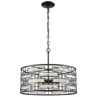 Lineo 6 Light 20 inch Matte Black Chandelier Ceiling Light