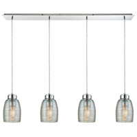 Muncie 4 Light 46 inch Polished Chrome Pendant Ceiling Light, Linear Pan