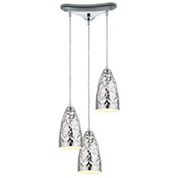 ELK 46210/3 Hammersmith 3 Light 10 inch Polished Chrome Pendant Ceiling Light in Triangular Canopy