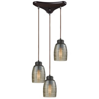 Muncie 3 Light 10 inch Oil Rubbed Bronze Pendant Ceiling Light, Triangle Pan