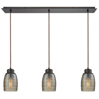 Muncie 3 Light 36 inch Oil Rubbed Bronze Pendant Ceiling Light, Linear Pan