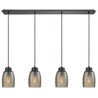 Muncie 4 Light 46 inch Oil Rubbed Bronze Pendant Ceiling Light, Linear Pan