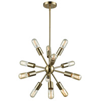 ELK 46243/12 Delphine 12 Light 16 inch Satin Black Chandelier Ceiling Light in Satin Brass
