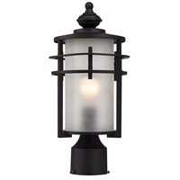 ELK Lighting Meadowview 1 Light Outdoor Post Lantern in Matte Black with Frosted Glass 46252/1