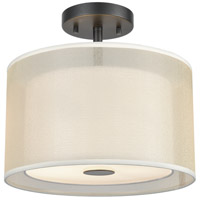 Ashland 2 Light 12 inch Matte Black Semi Flushmount Ceiling Light