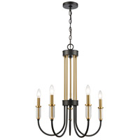 Matte Black and Brass Glass Chandeliers