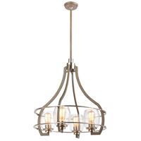 ELK 46424/4 Bixler 4 Light 22 inch Light Wood with Satin Nickel Chandelier Ceiling Light