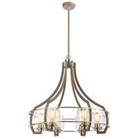 ELK 46425/6 Bixler 6 Light 27 inch Light Wood with Satin Nickel Chandelier Ceiling Light
