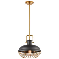 ELK 46585/1 Nostalgia 1 Light 13 inch Matte Black with Brushed Brass Pendant Ceiling Light