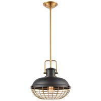 ELK 46585/1 Nostalgia 1 Light 13 inch Matte Black with Brushed Brass Pendant Ceiling Light