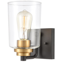 Robins 1 Light 5 inch Matte Black with Brushed Brass Vanity Light Wall Light