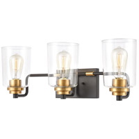 Robins 3 Light 23 inch Matte Black with Brushed Brass Vanity Light Wall Light