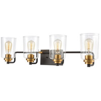 Robins 4 Light 32 inch Matte Black with Brushed Brass Vanity Light Wall Light