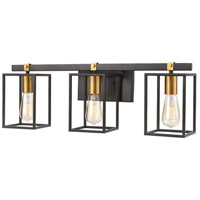 Cloe 3 Light 26 inch Matte Black with Brushed Brass Vanity Light Wall Light
