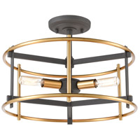 ELK 46651/3 Millington 3 Light 14 inch Charcoal with Brushed Brass Semi Flush Mount Ceiling Light