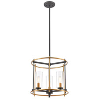 ELK 46653/3 Millington 3 Light 14 inch Charcoal with Brushed Brass Pendant Ceiling Light