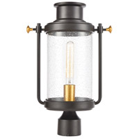 ELK 46673/1 Wexford 1 Light 18 inch Matte Black with Brushed Brass Outdoor Post Mount