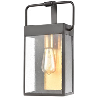 Knowlton 1 Light 14 inch Matte Black with Brushed Brass Outdoor Wall Sconce