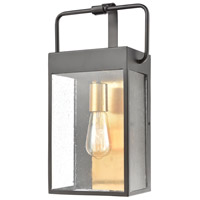 ELK 46682/1 Knowlton 1 Light 17 inch Matte Black with Brushed Brass Outdoor Sconce