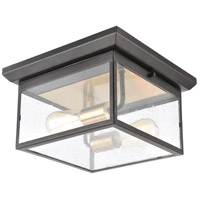 ELK 46683/2 Knowlton 2 Light 12 inch Matte Black with Brushed Brass Outdoor Flush Mount