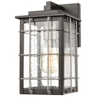 Brewster 1 Light 11 inch Matte Black with Weathered Zinc Outdoor Sconce