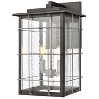 ELK 46712/2 Brewster 2 Light 17 inch Matte Black with Weathered Zinc Outdoor Wall Sconce