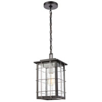 ELK 46713/1 Brewster 1 Light 8 inch Matte Black with Weathered Zinc Outdoor Hanging Lantern