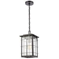 ELK 46713/1 Brewster 1 Light 8 inch Matte Black/Weathered Zinc Outdoor Hanging Light