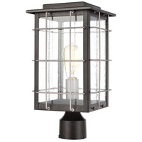 ELK 46714/1 Brewster 1 Light 15 inch Matte Black with Weathered Zinc Outdoor Post Mount