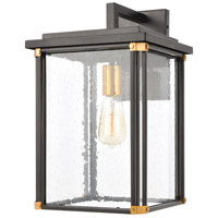 Vincentown 1 Light 18 inch Matte Black with Brushed Brass Outdoor Sconce