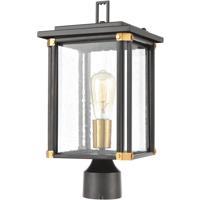 ELK 46724/1 Vincentown 1 Light 17 inch Matte Black with Brushed Brass Outdoor Post Mount