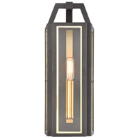 Portico 1 Light 16 inch Charcoal with Brushed Brass Outdoor Sconce
