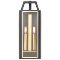 ELK 46741/2 Portico 2 Light 21 inch Charcoal/Brushed Brass Outdoor Sconce