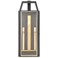 Portico 3 Light 27 inch Charcoal with Brushed Brass Outdoor Sconce