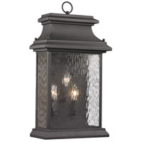 Forged Provincial 3 Light 23 inch Charcoal Outdoor Wall Sconce