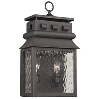 Forged Lancaster 2 Light 18 inch Charcoal Outdoor Wall Sconce