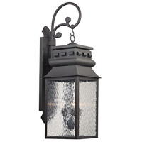 Forged Lancaster 3 Light 35 inch Charcoal Outdoor Wall Sconce