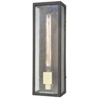 ELK 47121/1 Mckenzie 1 Light 16 inch Blackened Bronze with Brushed Brass Outdoor Wall Sconce