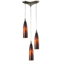 Lungo 3 Light 3 inch Satin Nickel Pendant Ceiling Light in Espresso Glass