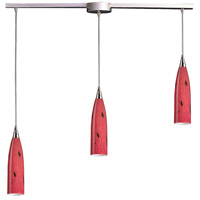 Lungo 3 Light 36 inch Satin Nickel Pendant Ceiling Light in Fire Red Glass