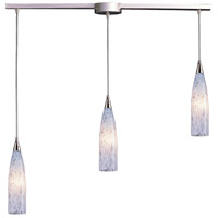 Lungo 3 Light 36 inch Satin Nickel Pendant Ceiling Light in Snow White Glass