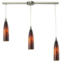 Lungo 3 Light 36 inch Satin Nickel Pendant Ceiling Light in Espresso Glass
