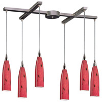 Lungo 6 Light 33 inch Satin Nickel Pendant Ceiling Light in Fire Red Glass